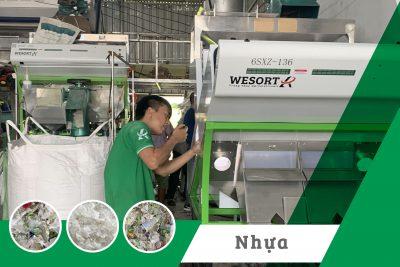 Lắp đặt 2 chiếc máy tách màu công suất lớn cho xưởng nhựa Pet